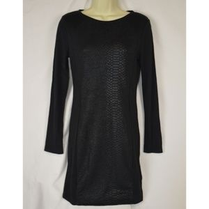 Divided Snake Skin Accented L/S Sheath Dress 10
